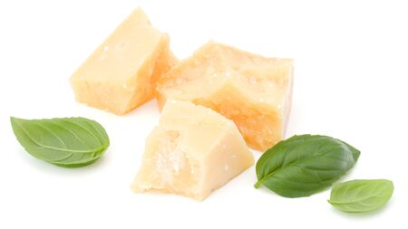 shredded parmesan cheese and basil leaf isolated on white background cutout 版權商用圖片