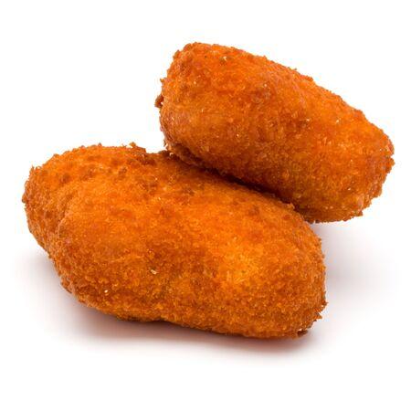 Knusperige Hühnernuggets lokalisiert auf weißem Hintergrund Standard-Bild