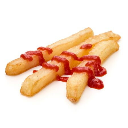 French Fried Potatoes with ketchup isolated on white background Фото со стока