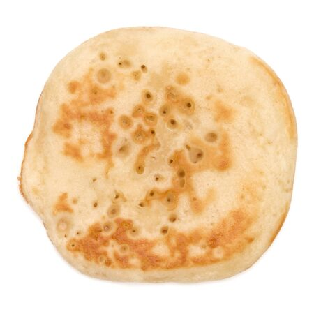 One pancake isolated on white background cutout. Top view.