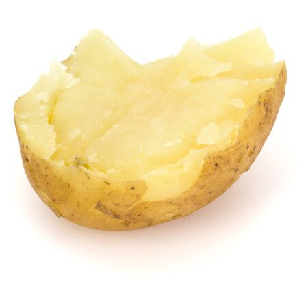 one boiled peeled potato half isolated on white background cutout