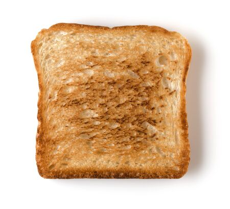 Toast slice isolated on white background close up. Top view. Banco de Imagens - 130163648