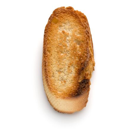 Toasted baguette slice isolated on white background close up.  Toast, crouton. Top view. Banco de Imagens - 130163702