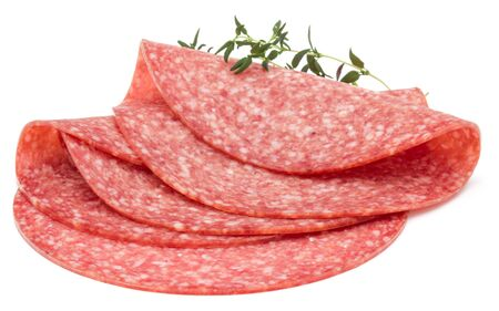 Salami smoked sausage slices isolated on white background Banco de Imagens - 130163760