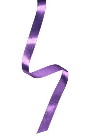 Shiny satin ribbon in lavender color isolated on white background close up. Ribbon image for decoration design.