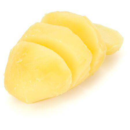 boiled peeled sliced potato isolated on white background cutout