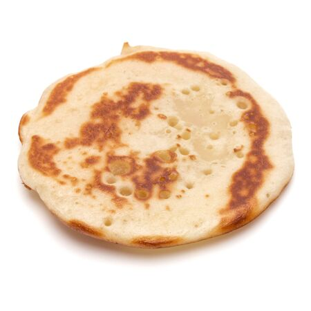 One pancake isolated on white background cutout. 版權商用圖片 - 130163996