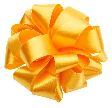 Shiny satin round ribbon bow in yellow color isolated on white background close up. Bow image for decoration design.