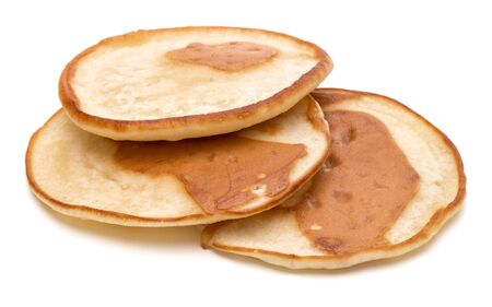 Three pancakes isolated on white background cutout. 版權商用圖片 - 130164282
