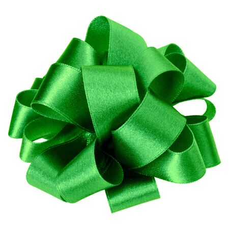 big round bow in green color isolated on white background. Bow image for decoration design. Stockfoto