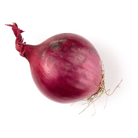 red onion isolated on white background cutout, top view Фото со стока