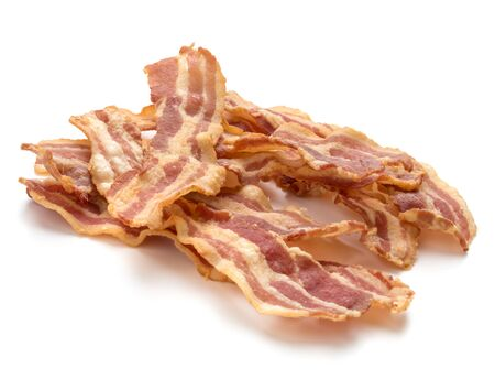 cooked crispy slices of bacon isolated on white background Stock fotó