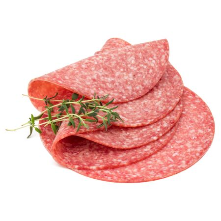 Salami smoked sausage slices isolated on white background Stock fotó