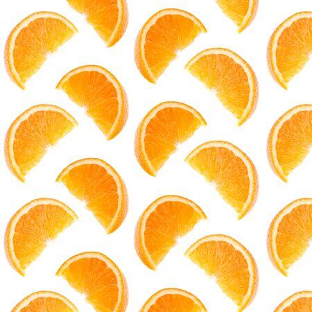 Orange segments pattern isolated on white background. Food background.