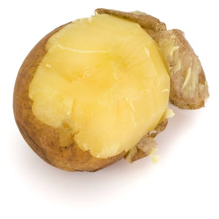 one boiled peeled potato isolated on white background cutout