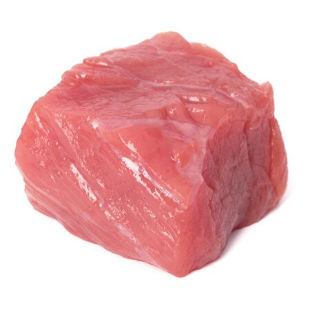Raw chopped beef meat cube isolated om white background cut out. Stock fotó