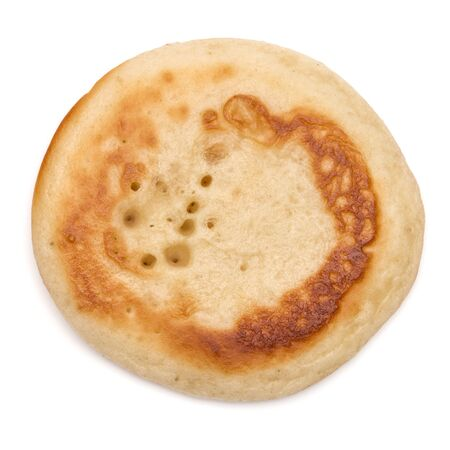 One pancake isolated on white background cutout. Top view. 版權商用圖片 - 130164914