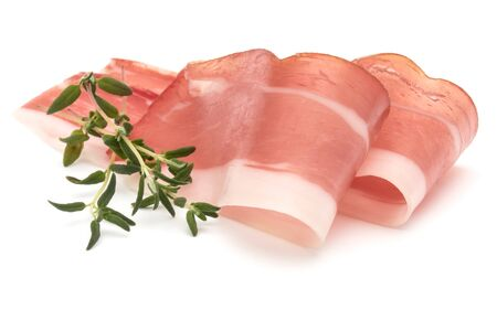 Italian prosciutto crudo or jamon. Raw ham. Isolated on white background Stock fotó