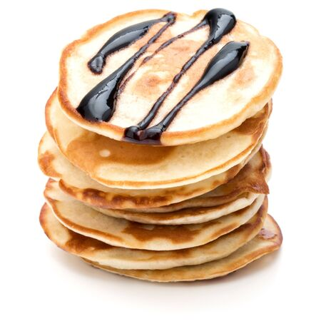 Pancakes  stack with chocolate syrup on white background 版權商用圖片 - 130164796