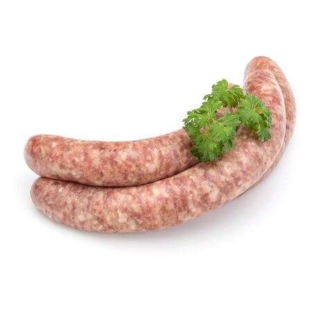 Raw sausage with parsley leaf isolated on white background