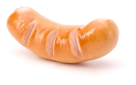 One Roasted sausage isolated on white background cutout