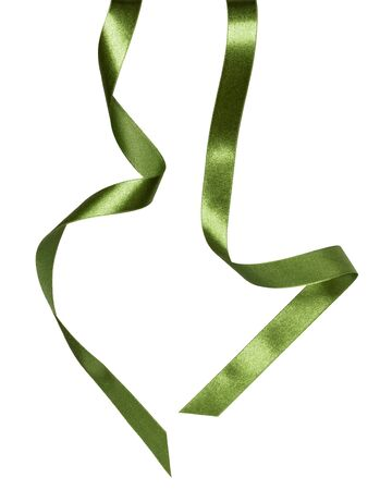 Shiny satin ribbon in green color isolated on white background close up. Ribbon image for decoration design. Stockfoto