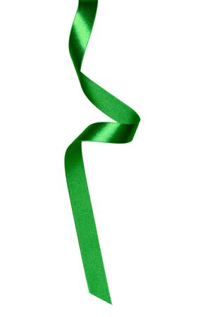 Shiny satin ribbon in green color isolated on white background. Ribbon image for decoration design. Stockfoto