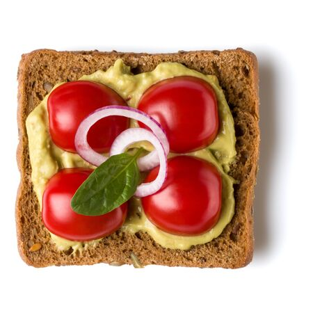 Open faced sandwich crostini isolated on white Stock Photo