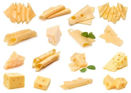 Cheese collection isolated over white background. Set of different cheeses.. Фото со стока
