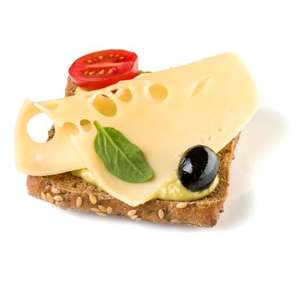 faced sandwich crostini isolated on white Stock Photo