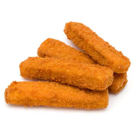 Crispy Fish fingers isolated on white background Standard-Bild