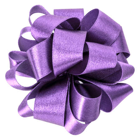 big round bow in lavender color isolated on white background close up Standard-Bild