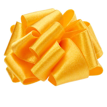 Shiny satin round ribbon bow in yellow color isolated on white background close up
