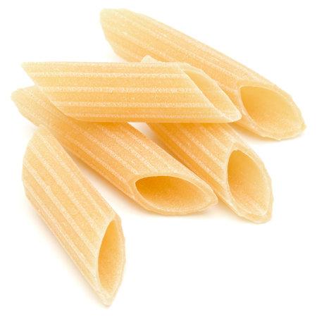 Italian pasta isolated on white background. Pennoni. Penne rigate. Standard-Bild
