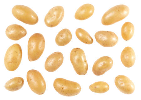 Potatoes isolated on white background. Top view. Flat lay pattern. Potatoes in air, without shadow. Standard-Bild