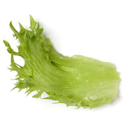 fresh frillice iceberg leaf salad isolated on white background. Top view, flat lay. Stock Photo
