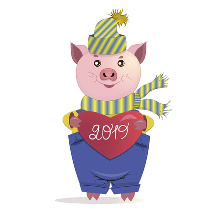 Funny pig. Symbol of year.