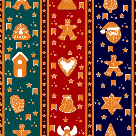 Merry Christmas seamless vertical border pattern. Gingerbreads. Happy winter holidays poster. New year. Christmas holiday banner