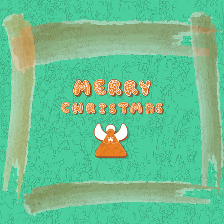 Merry ChristmasXmas greeting Card Template. Gingerbreads.. Happy Winter Holidays poster. New year. Christmas Holiday banner