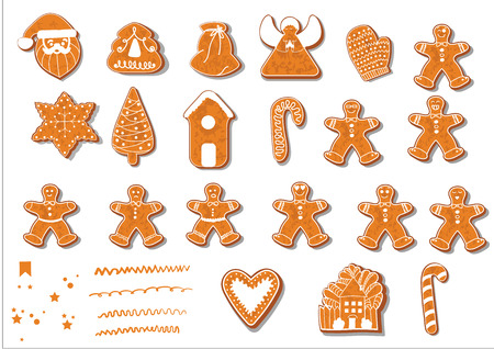Set of christmas cookies. Set of different gingerbread cookies for christmas. New Year gingerbread in the form of Christmas characters. Different new year characters. Homemade baking. Bakery products. House, Christmas tree, Santa Claus, bag, guardian angel and others