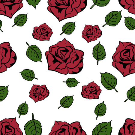Rose seamless flowers pattern for background design. Jpeg version is also available in the gallery. Suitable for the design of cards, gift bags, packages, invitations and so on.