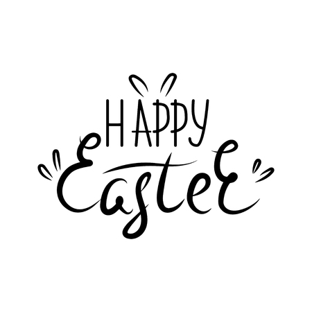 Vector illustration. Lettering Happy Easter. Hand drawn elegant modern brush lettering of Happy Easter isolated on white background.
