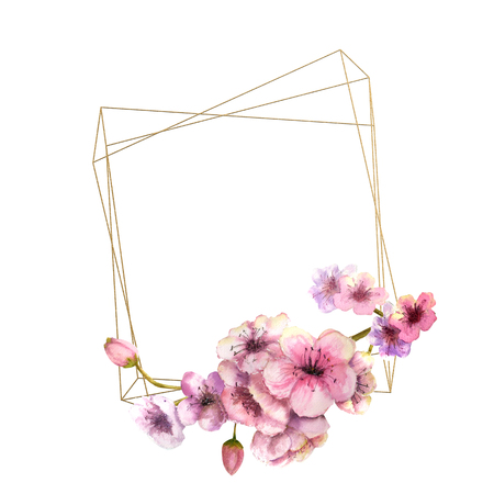 Cherry blossom, Sakura Branch with pink flowers on gold frame and isolated white background. Image of spring. Frame. Watercolor illustration. Design elements. flowers below. geometric frame