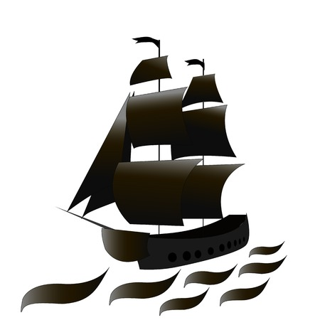 A pirate ship with black sails at sea. Vector illustration. Illustration