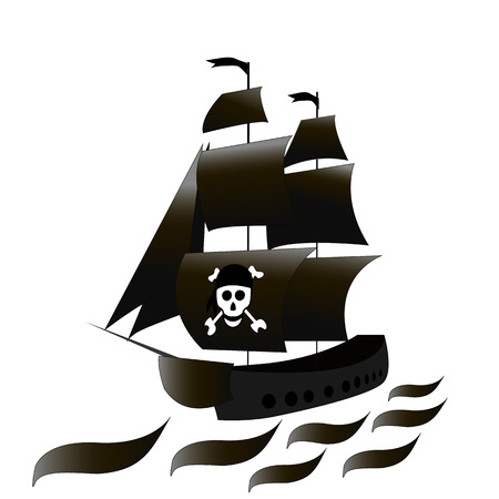 The ship is a frigate with black sails and a skull . Vector black and white drawing on white isolated background. Sketch Illustration