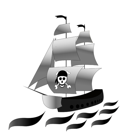 Ship. Frigate with white sails . Vector black and white drawing on white isolated background. Sketch Illustration