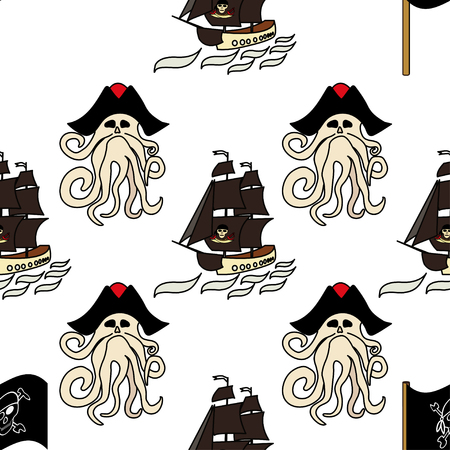 Seamless pattern pirate symbols - ships, Davy Jones, octopus, flag, hook, ETC. Endless texture for your design, greeting cards, ads posters - Vector graphics
