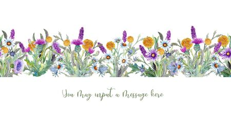 Wild flowers background Watercolor. Field flowers. Repetition of summer horizontal border. Watercolor compositions for the design of greeting cards or invitations. Illustration Standard-Bild - 131969823