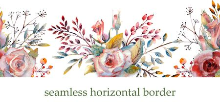 Pink roses, buds, leaves. Repeating summer horizontal border. Floral watercolor. Watercolor compositions for the design of greeting cards or invitations. Illustration. Zdjęcie Seryjne - 131969259