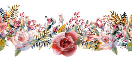 Pink roses, buds, leaves. Repeating summer horizontal border. Floral watercolor. Watercolor compositions for the design of greeting cards or invitations. Illustration. Zdjęcie Seryjne - 131970020